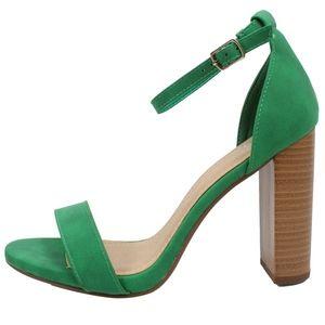 Emerald Open Toe Ankle Strap Stacked Heel Sandal